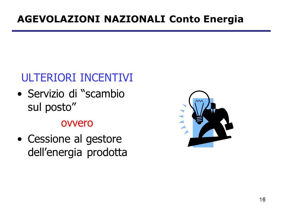 AGEVOLAZIONI NAZIONALI Conto Energia