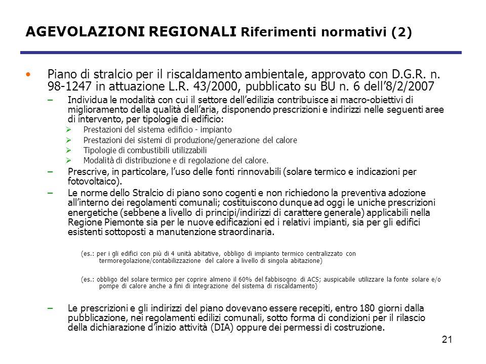 AGEVOLAZIONI REGIONALI Riferimenti normativi (2)