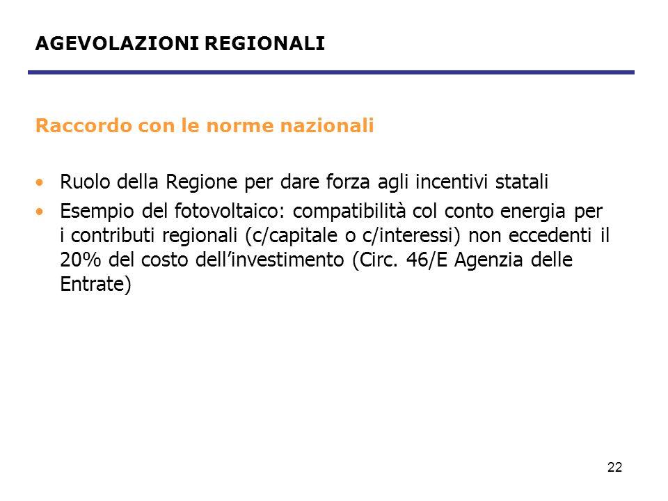 AGEVOLAZIONI REGIONALI