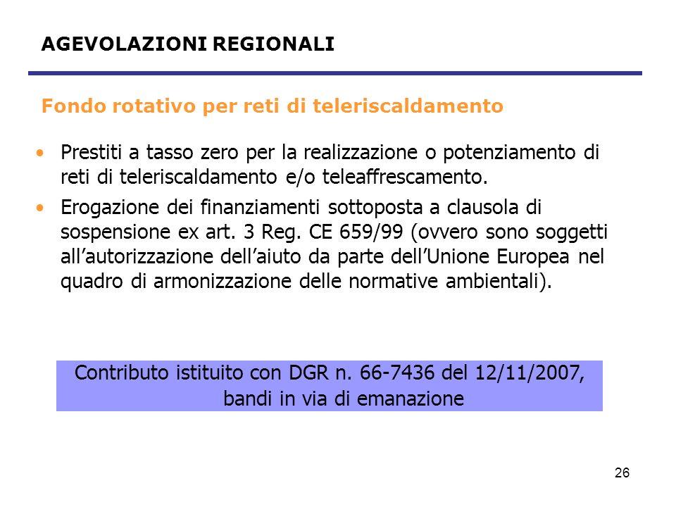 Fondo rotativo per reti di teleriscaldamento