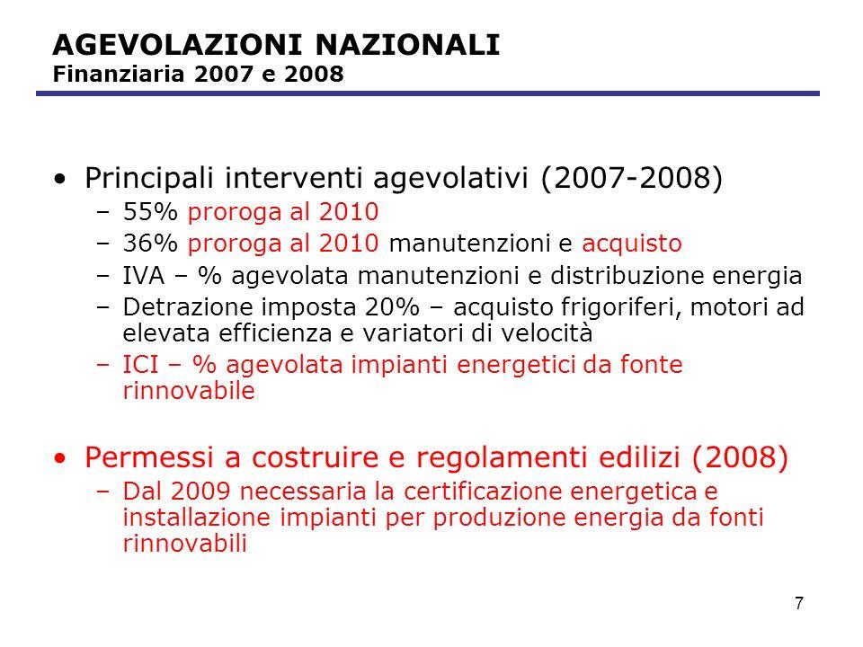 AGEVOLAZIONI NAZIONALI Finanziaria 2007 e 2008