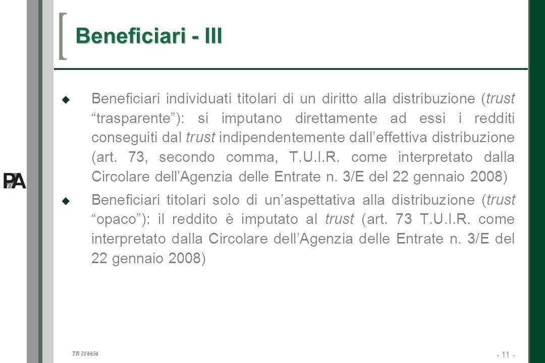 Beneficiari - III
