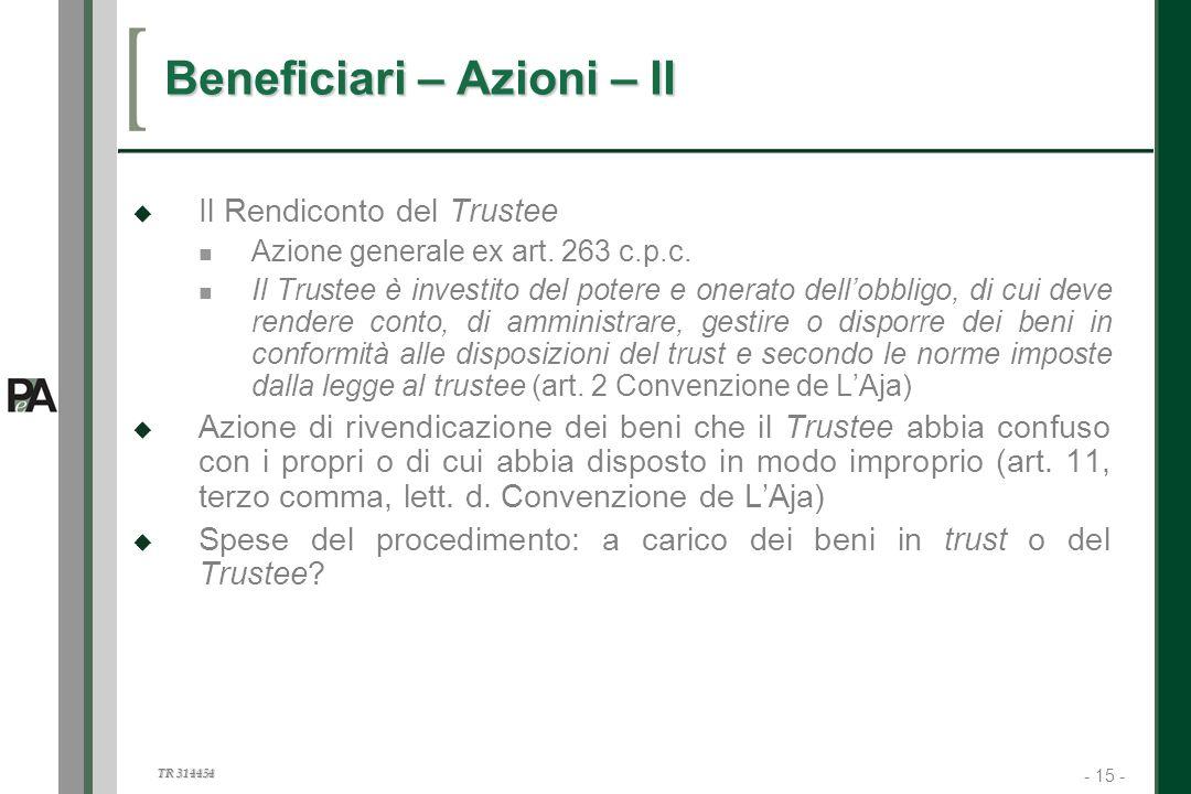 Beneficiari – Azioni – II