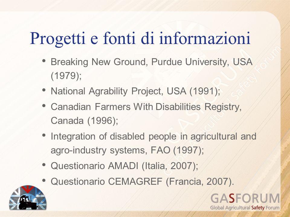 Progetti e fonti di informazioni