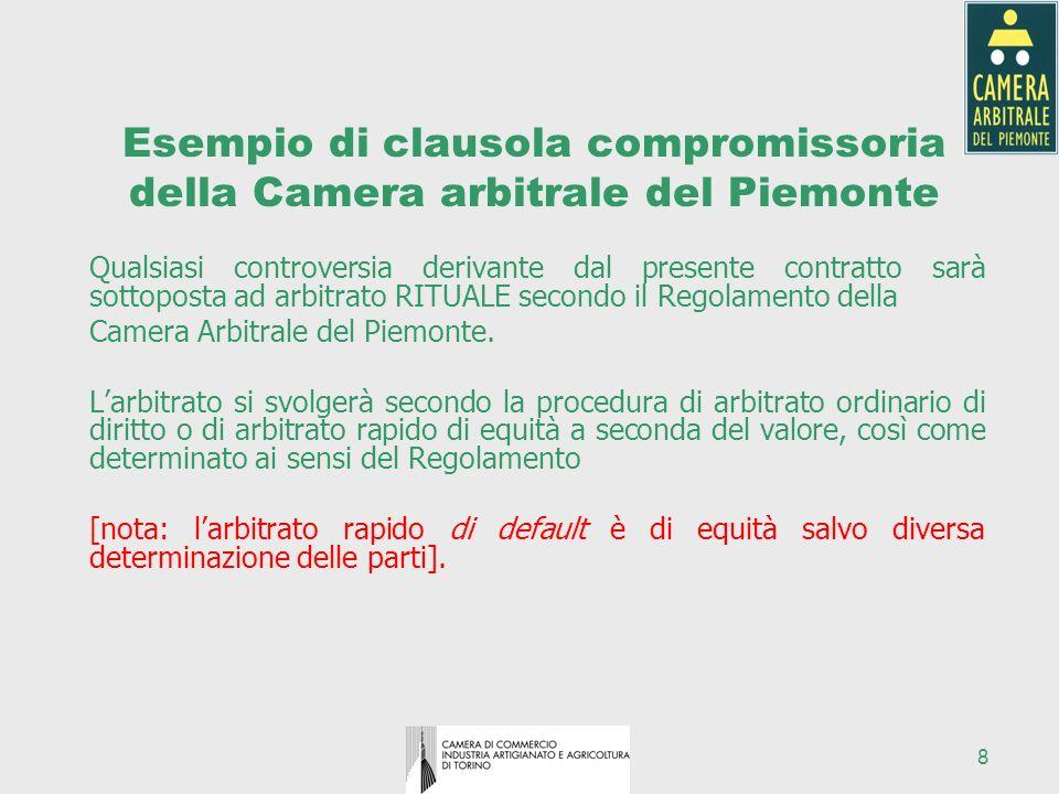 Esempio di clausola compromissoria della Camera arbitrale del Piemonte