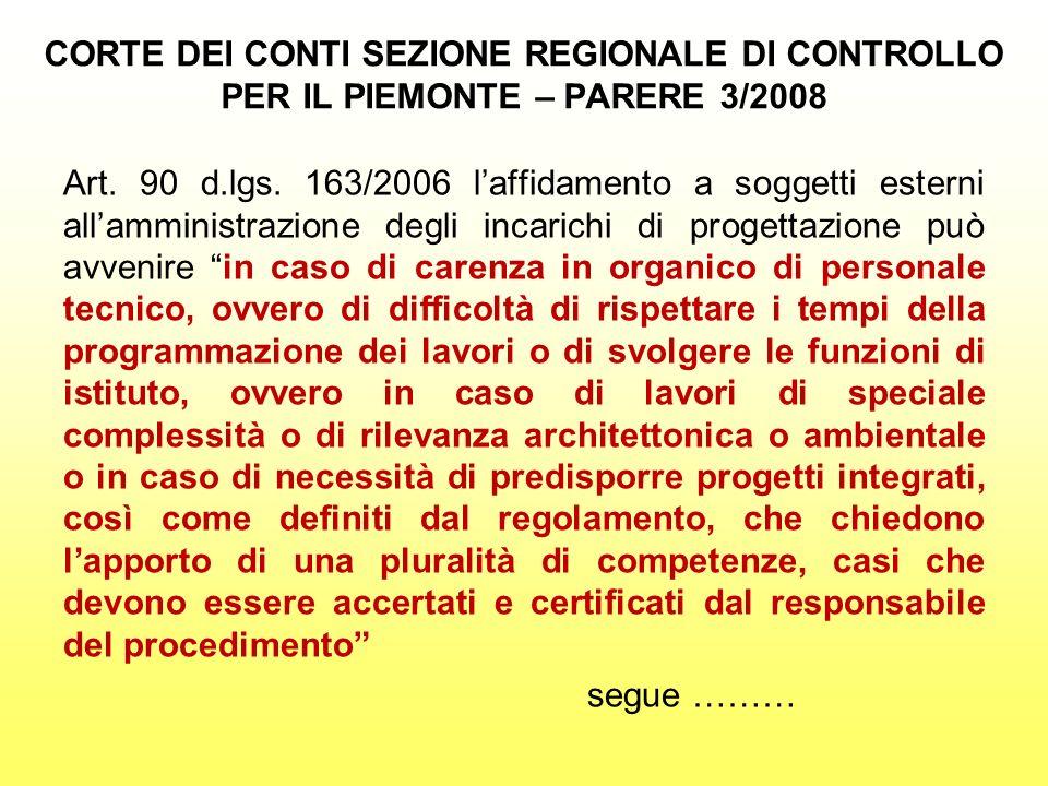 CORTE DEI CONTI SEZIONE REGIONALE DI CONTROLLO PER IL PIEMONTE – PARERE 3/2008