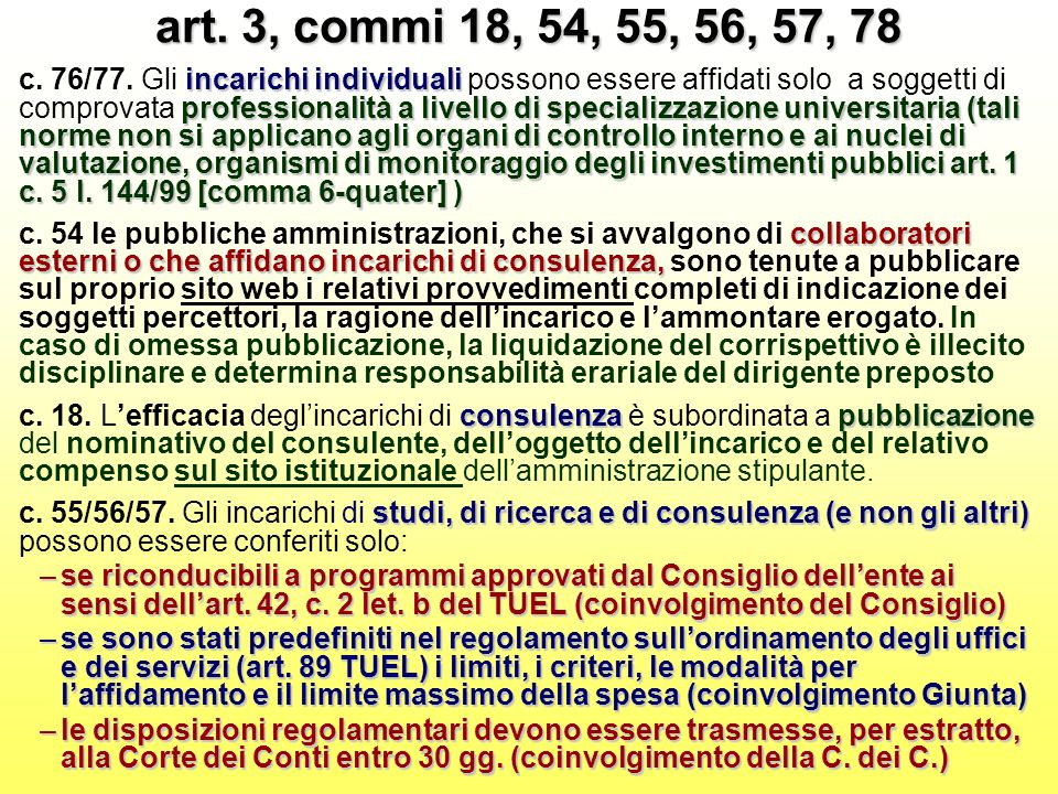 art. 3, commi 18, 54, 55, 56, 57, 78