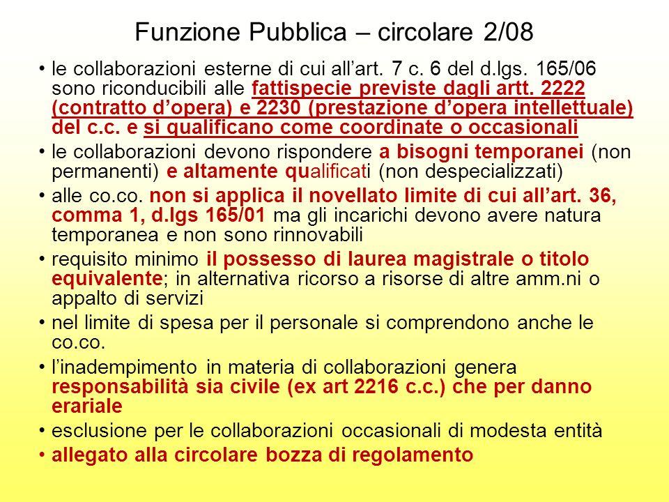 Funzione Pubblica – circolare 2/08