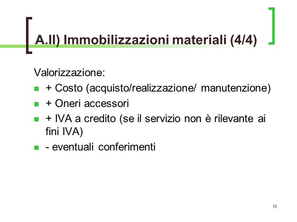 A.II) Immobilizzazioni materiali (4/4)