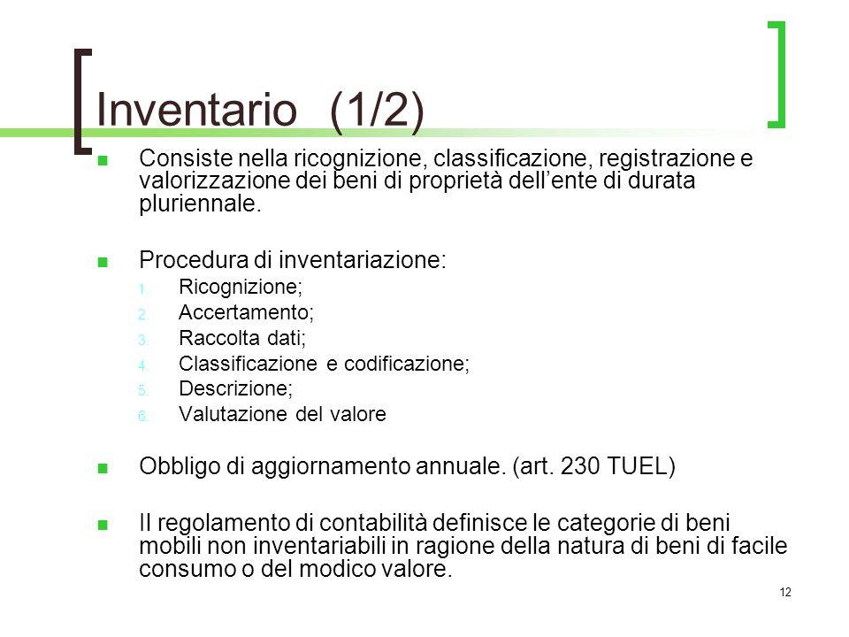 Inventario (1/2) Consiste nella ricognizione, classificazione, registrazione e valorizzazione dei beni di proprietà dell'ente di durata pluriennale.