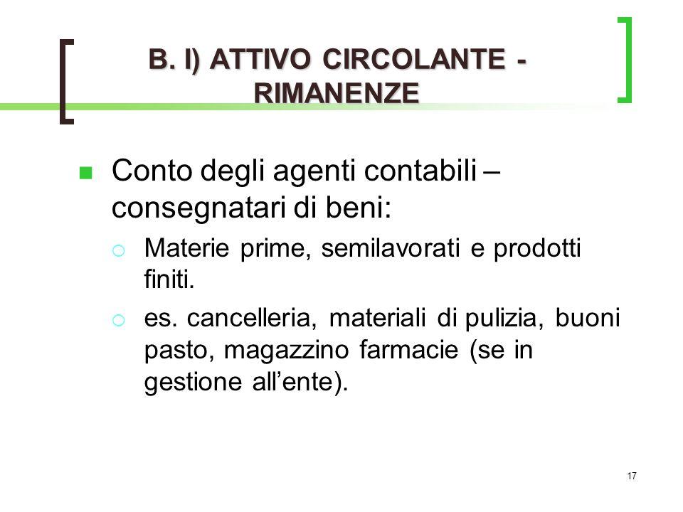 B. I) ATTIVO CIRCOLANTE - RIMANENZE