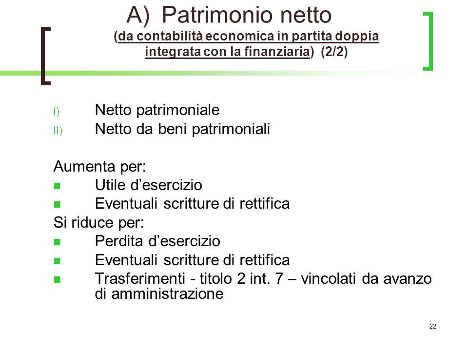 Patrimonio netto (da contabilità economica in partita doppia integrata con la finanziaria) (2/2)