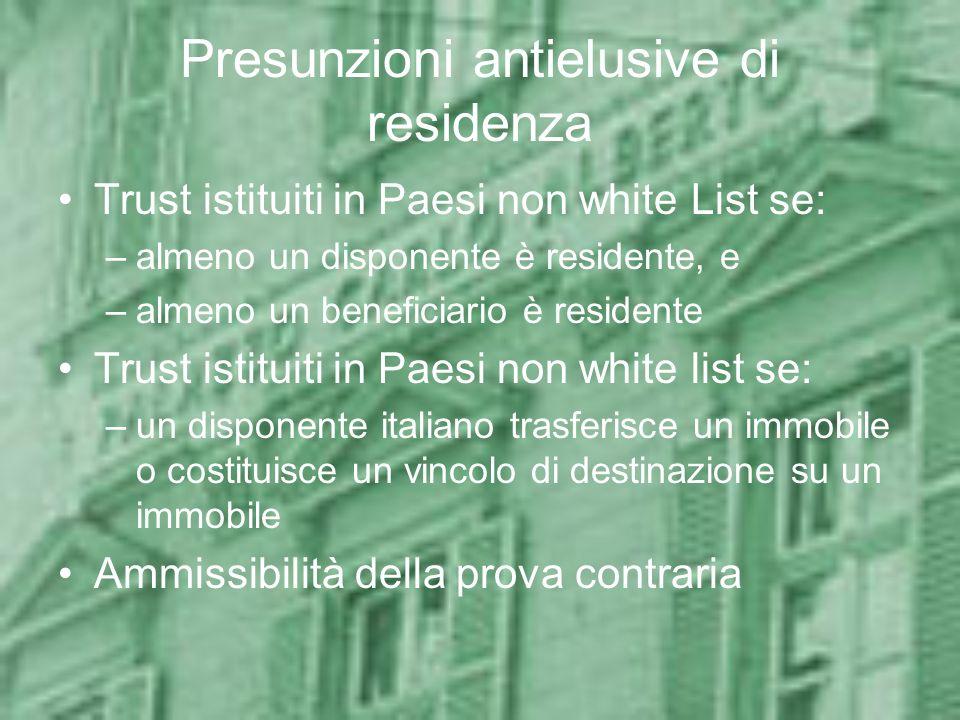 Presunzioni antielusive di residenza