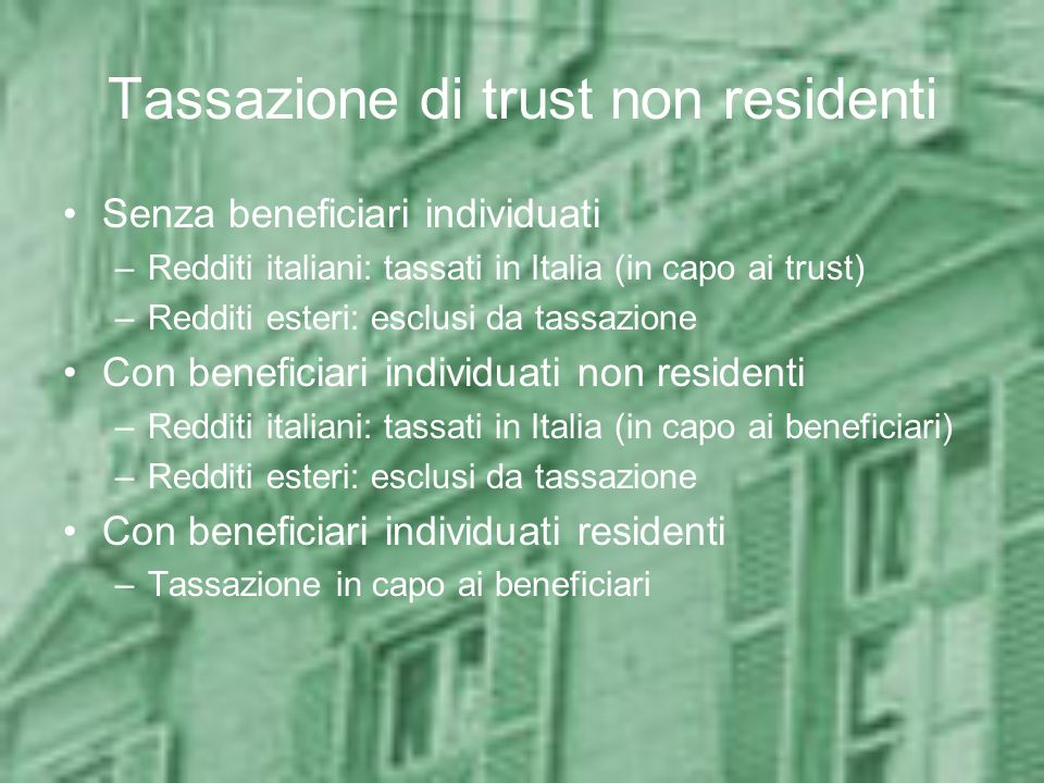 Tassazione di trust non residenti