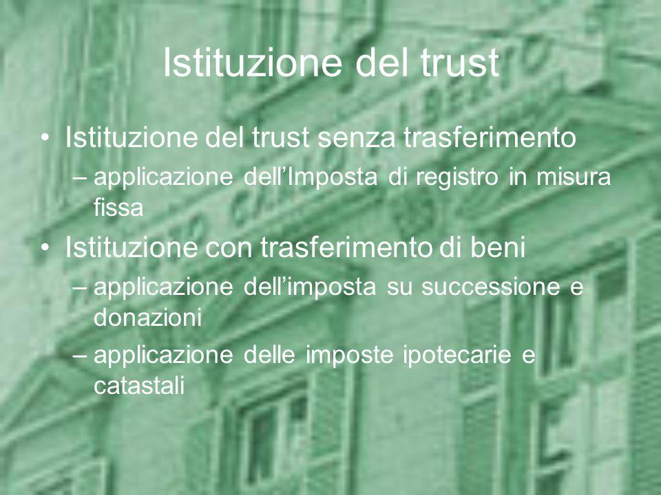 Istituzione del trust Istituzione del trust senza trasferimento
