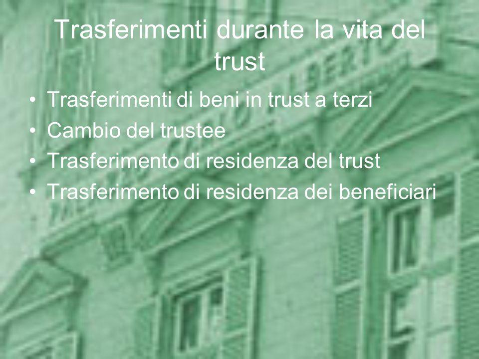 Trasferimenti durante la vita del trust