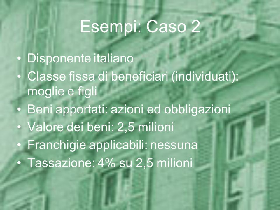 Esempi: Caso 2 Disponente italiano