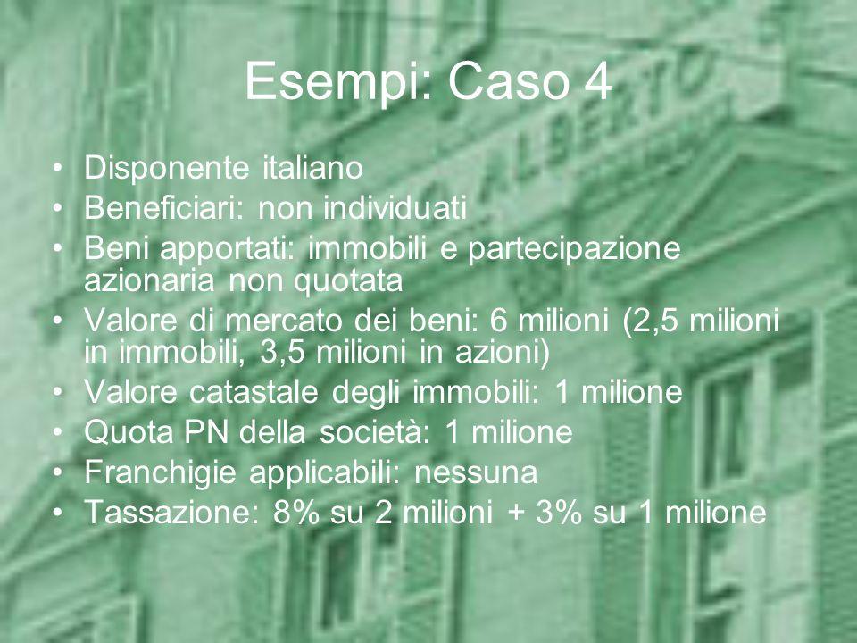 Esempi: Caso 4 Disponente italiano Beneficiari: non individuati