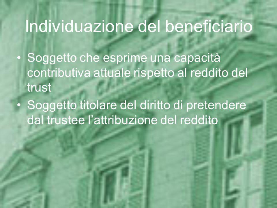 Individuazione del beneficiario