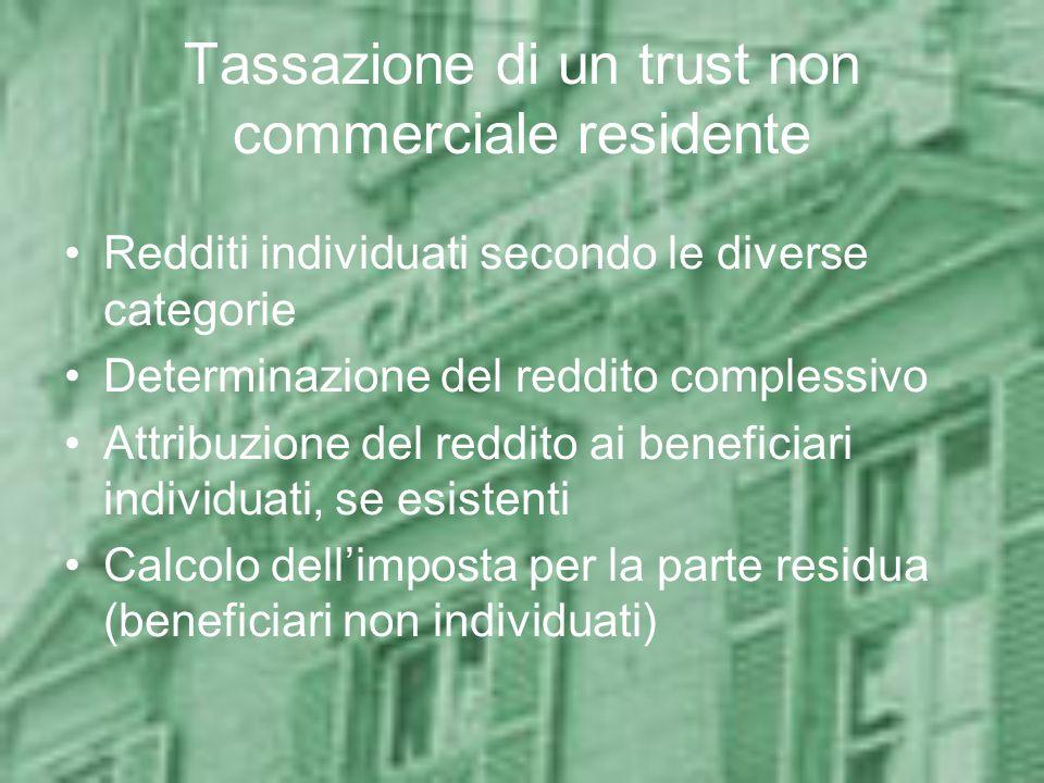 Tassazione di un trust non commerciale residente