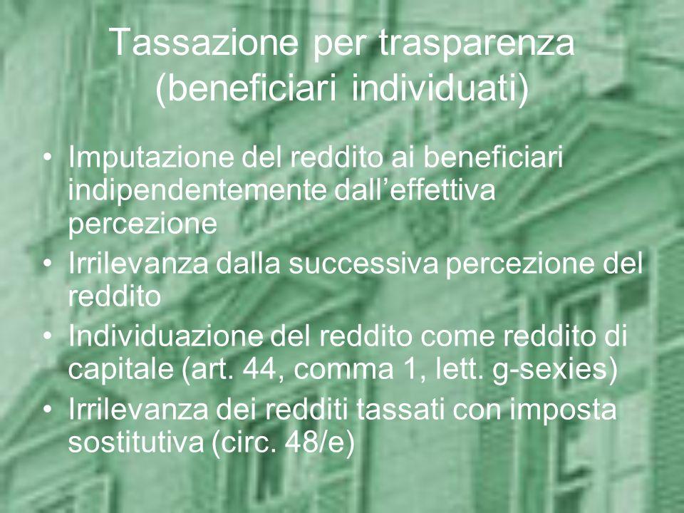 Tassazione per trasparenza (beneficiari individuati)