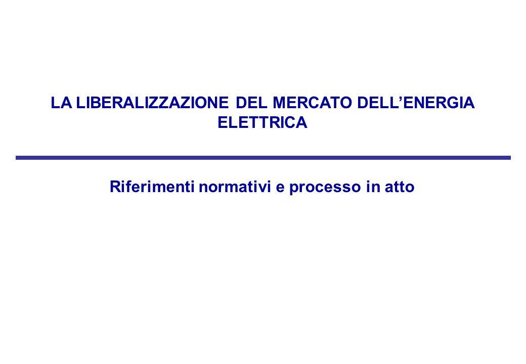 LA LIBERALIZZAZIONE DEL MERCATO DELL'ENERGIA ELETTRICA
