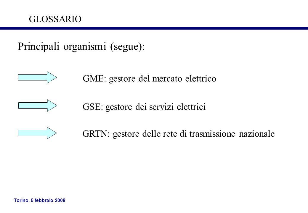 Principali organismi (segue):