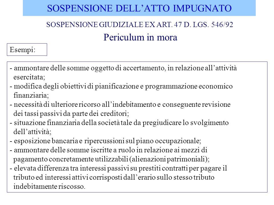 SOSPENSIONE DELL'ATTO IMPUGNATO
