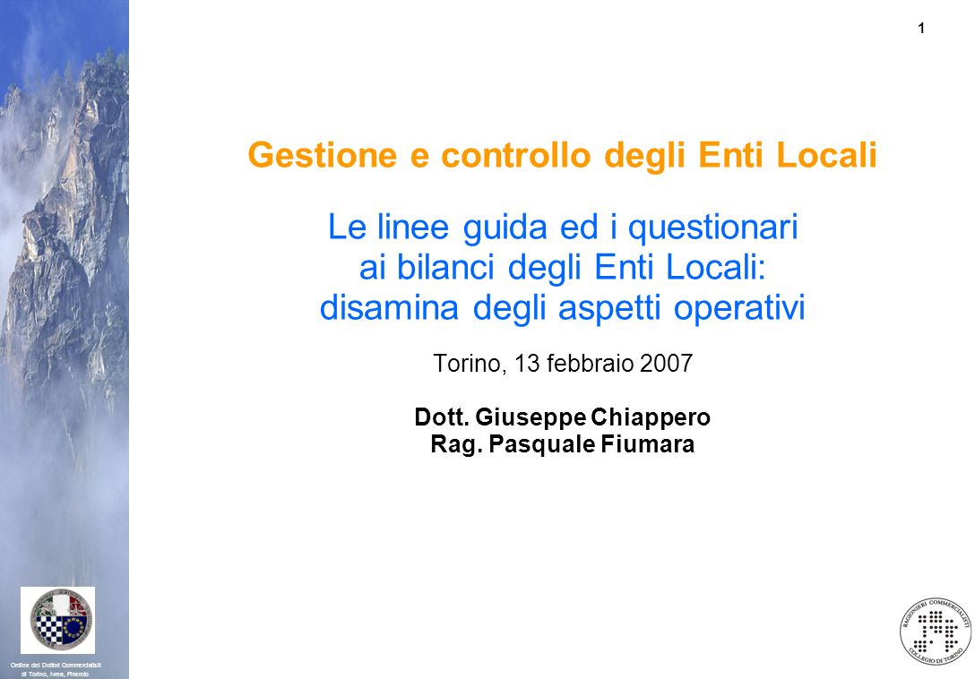 Gestione e controllo degli Enti Locali Le linee guida ed i questionari ai bilanci degli Enti Locali: disamina degli aspetti operativi Torino, 13 febbraio 2007 Dott.