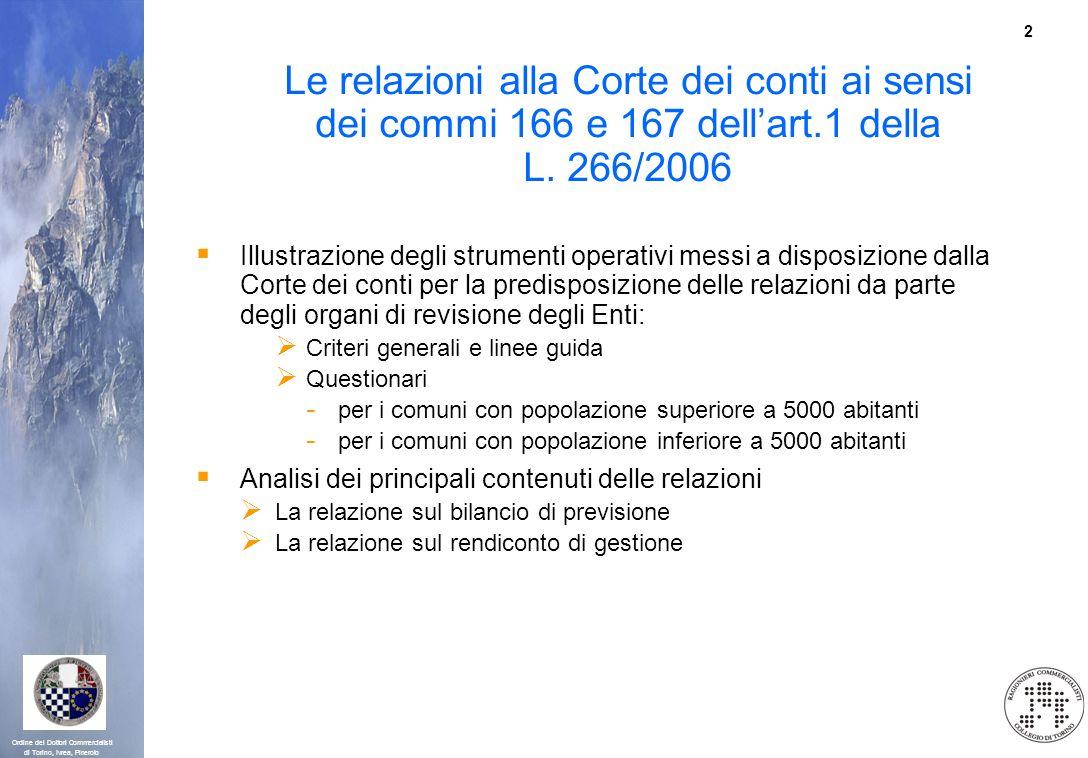Le relazioni alla Corte dei conti ai sensi dei commi 166 e 167 dell'art.1 della L. 266/2006