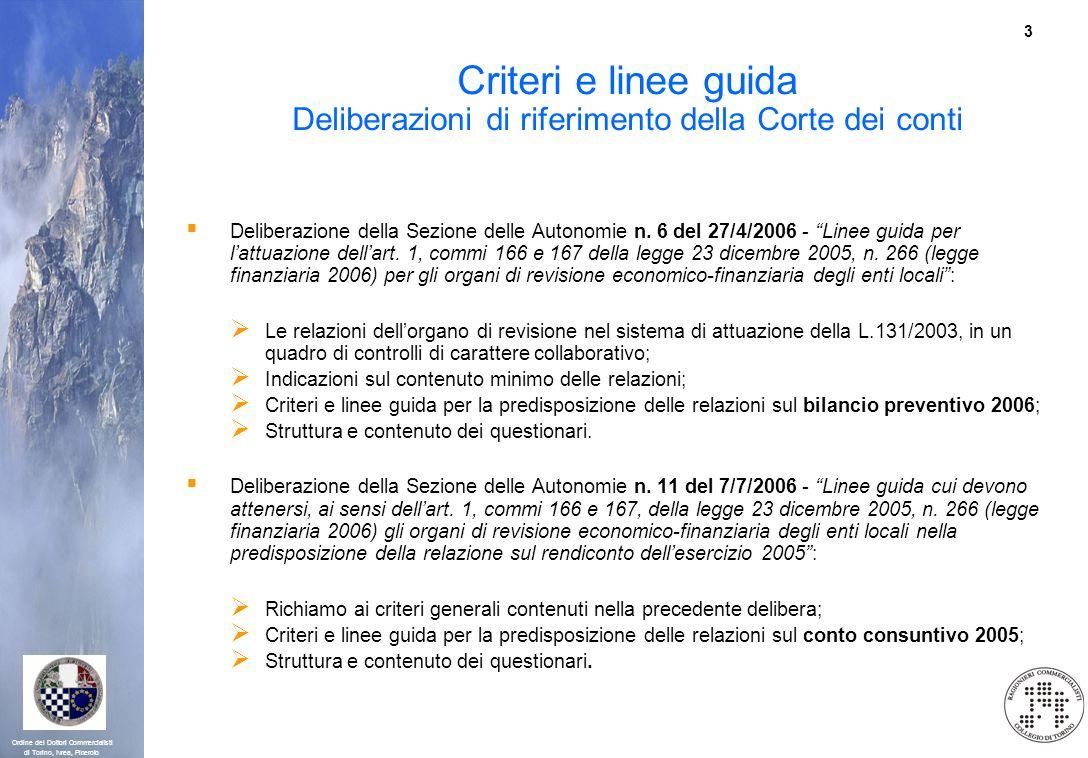 Criteri e linee guida Deliberazioni di riferimento della Corte dei conti