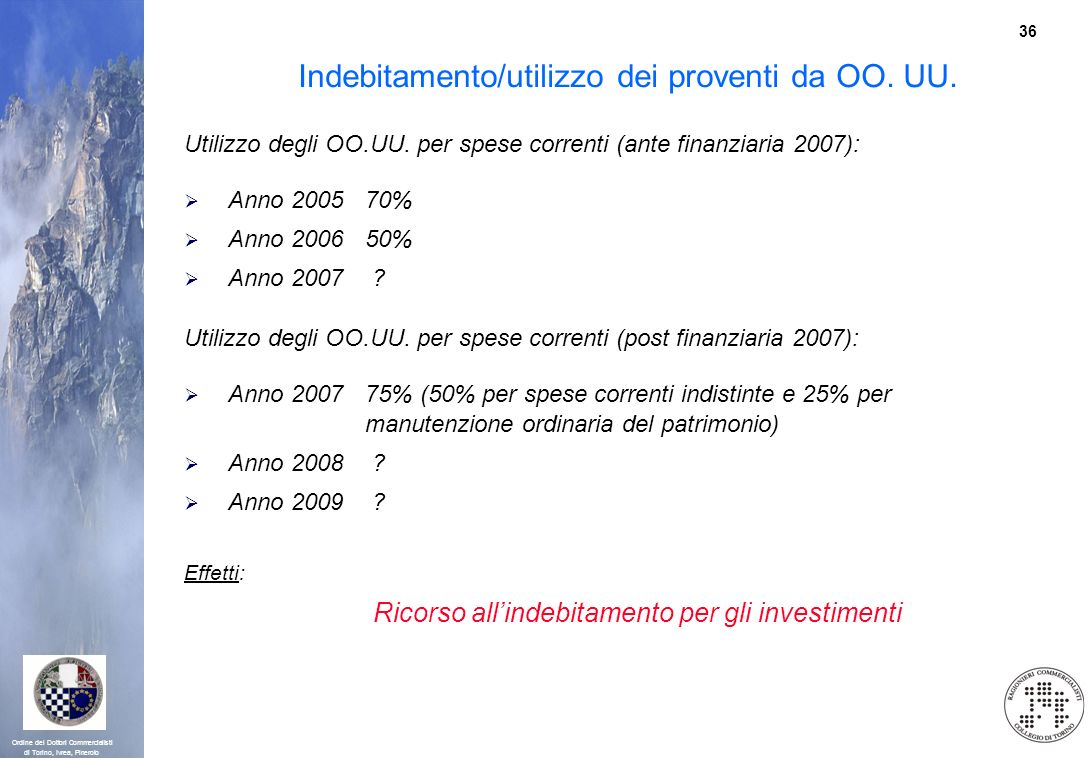 Indebitamento/utilizzo dei proventi da OO. UU.