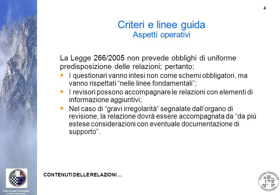 Criteri e linee guida Aspetti operativi
