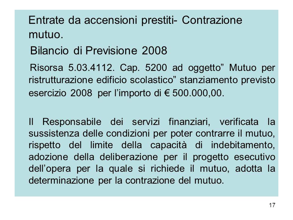 Entrate da accensioni prestiti- Contrazione mutuo.