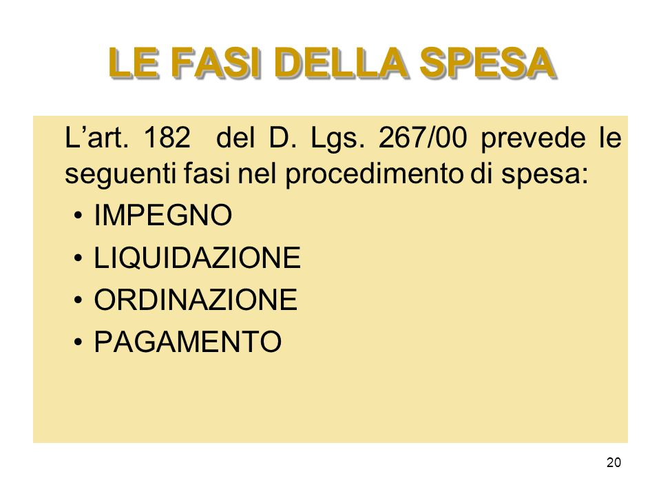 LE FASI DELLA SPESA L'art. 182 del D. Lgs. 267/00 prevede le seguenti fasi nel procedimento di spesa: