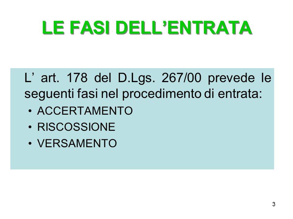 LE FASI DELL'ENTRATA L' art. 178 del D.Lgs. 267/00 prevede le seguenti fasi nel procedimento di entrata: