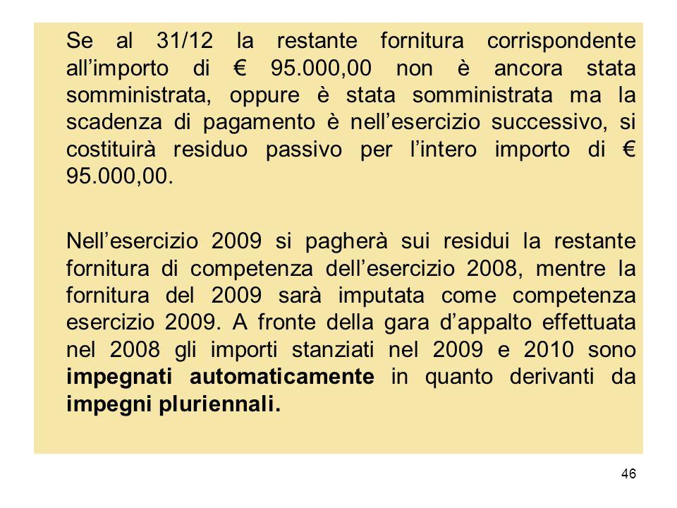 Se al 31/12 la restante fornitura corrispondente all'importo di € 95