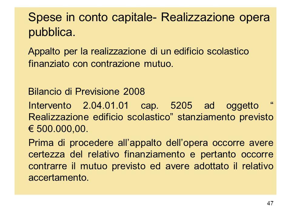 Spese in conto capitale- Realizzazione opera pubblica.