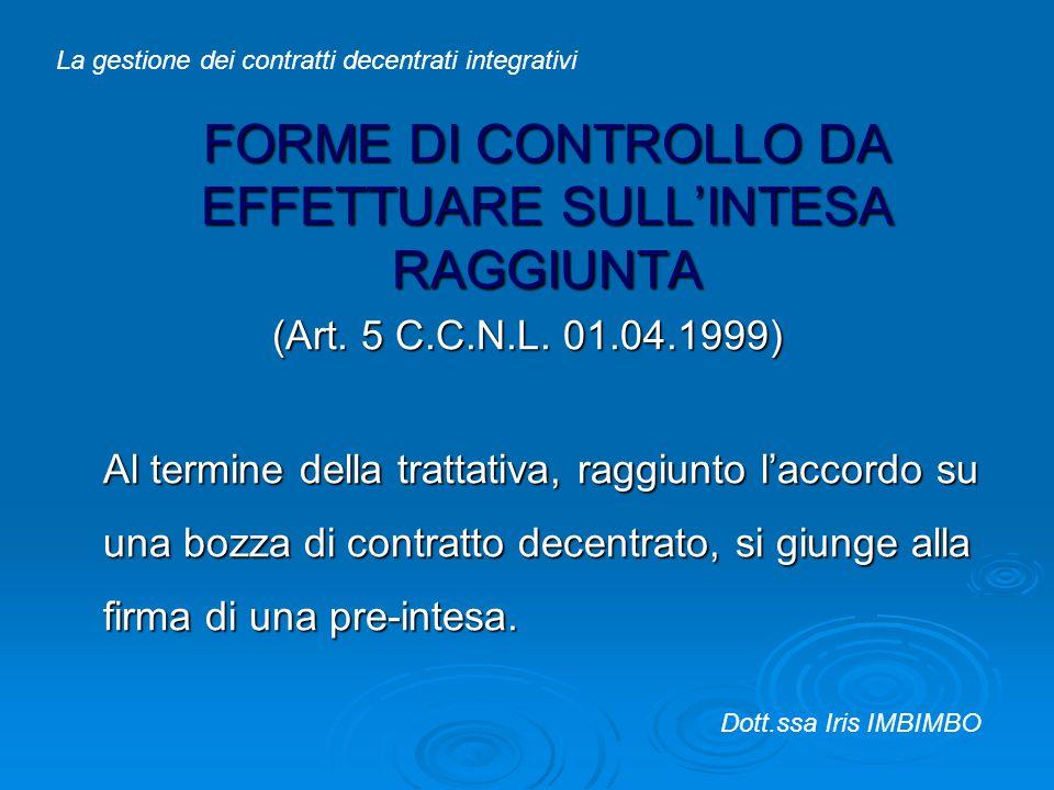 FORME DI CONTROLLO DA EFFETTUARE SULL'INTESA RAGGIUNTA