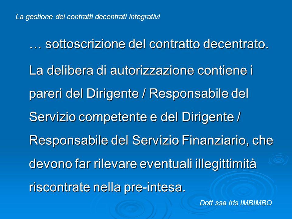 … sottoscrizione del contratto decentrato.
