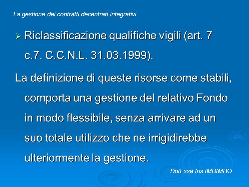 Riclassificazione qualifiche vigili (art. 7 c.7. C.C.N.L. 31.03.1999).