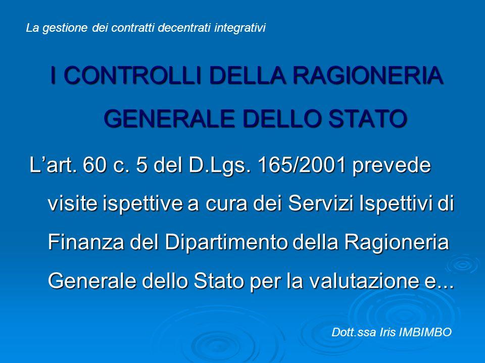 I CONTROLLI DELLA RAGIONERIA GENERALE DELLO STATO