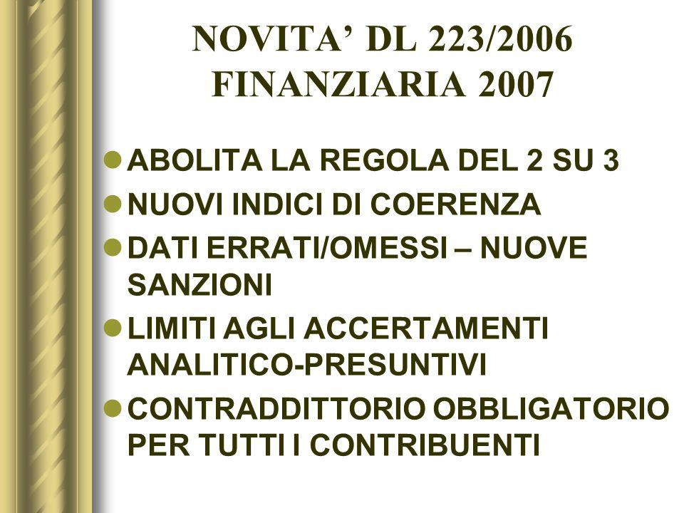 NOVITA' DL 223/2006 FINANZIARIA 2007