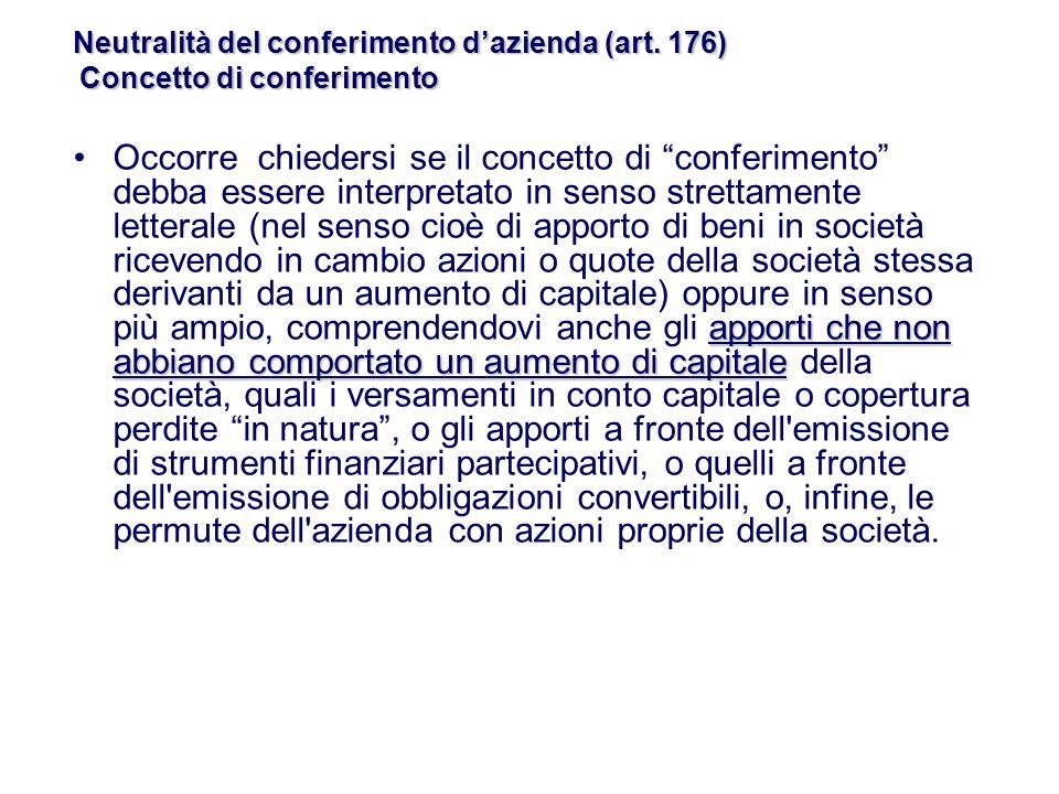 Neutralità del conferimento d'azienda (art