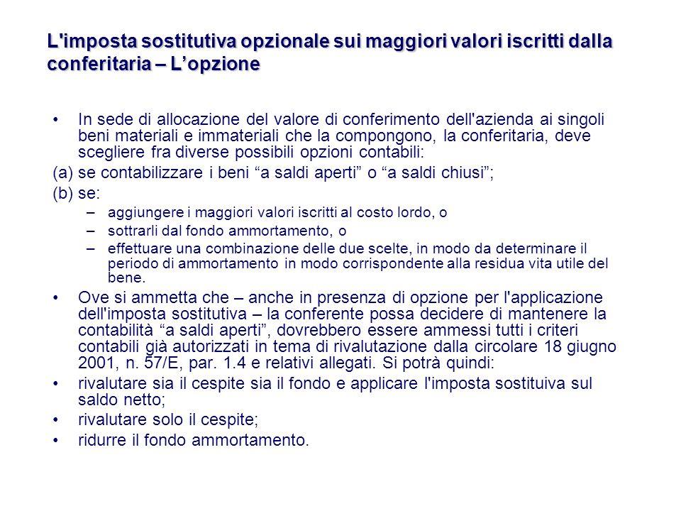 L imposta sostitutiva opzionale sui maggiori valori iscritti dalla conferitaria – L'opzione