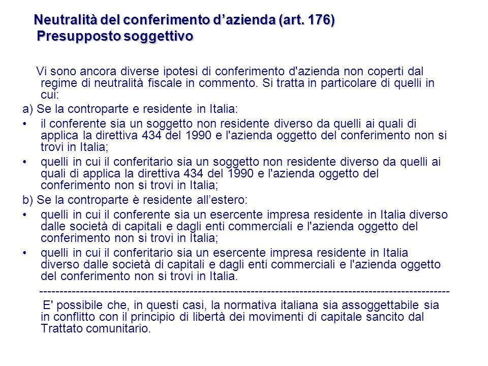 Neutralità del conferimento d'azienda (art. 176) Presupposto soggettivo
