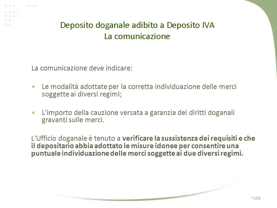La comunicazione deve indicare: