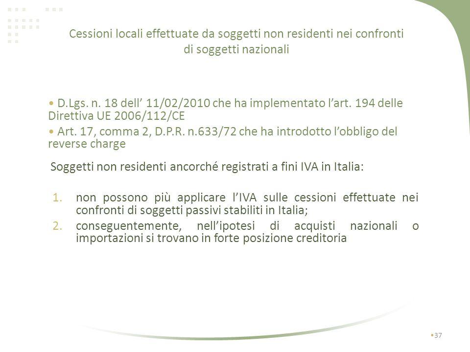 Cessioni locali effettuate da soggetti non residenti nei confronti di soggetti nazionali