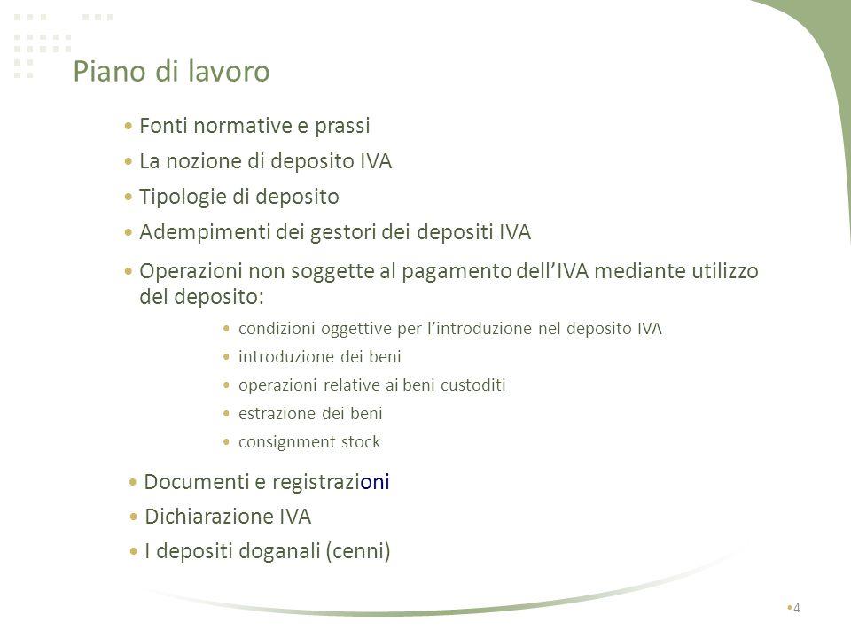 Piano di lavoro Fonti normative e prassi La nozione di deposito IVA