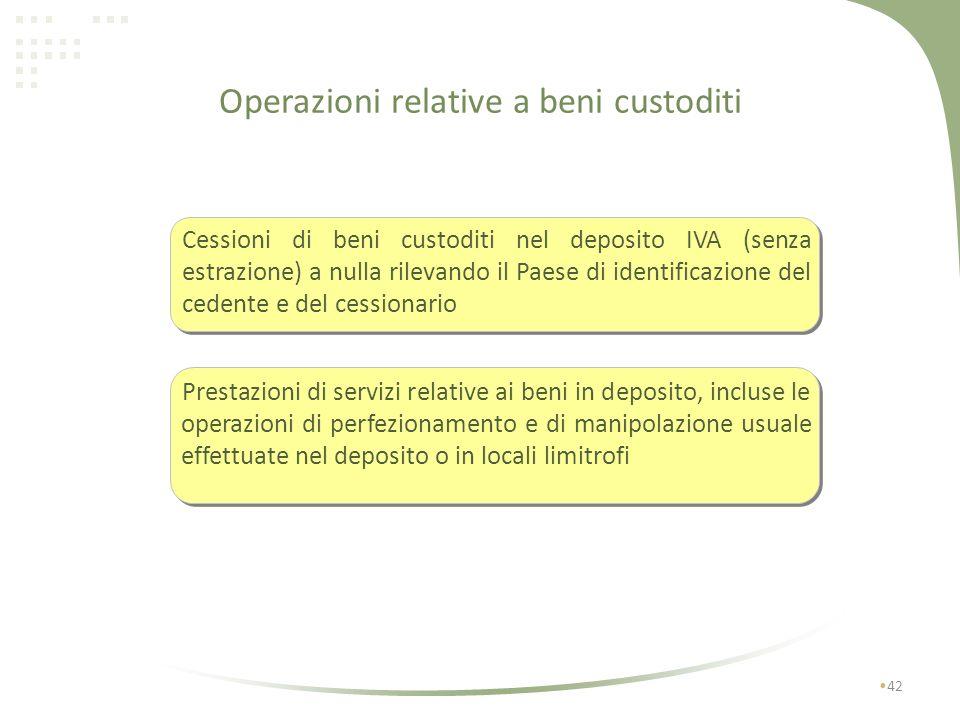 Operazioni relative a beni custoditi